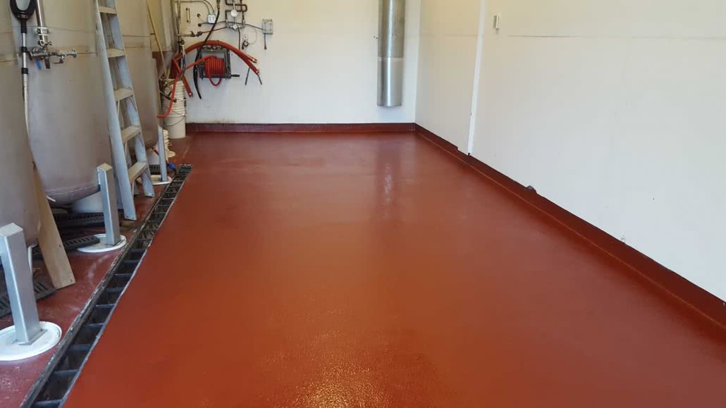 Coloured urethane floor coating at Sea Cider Cidery