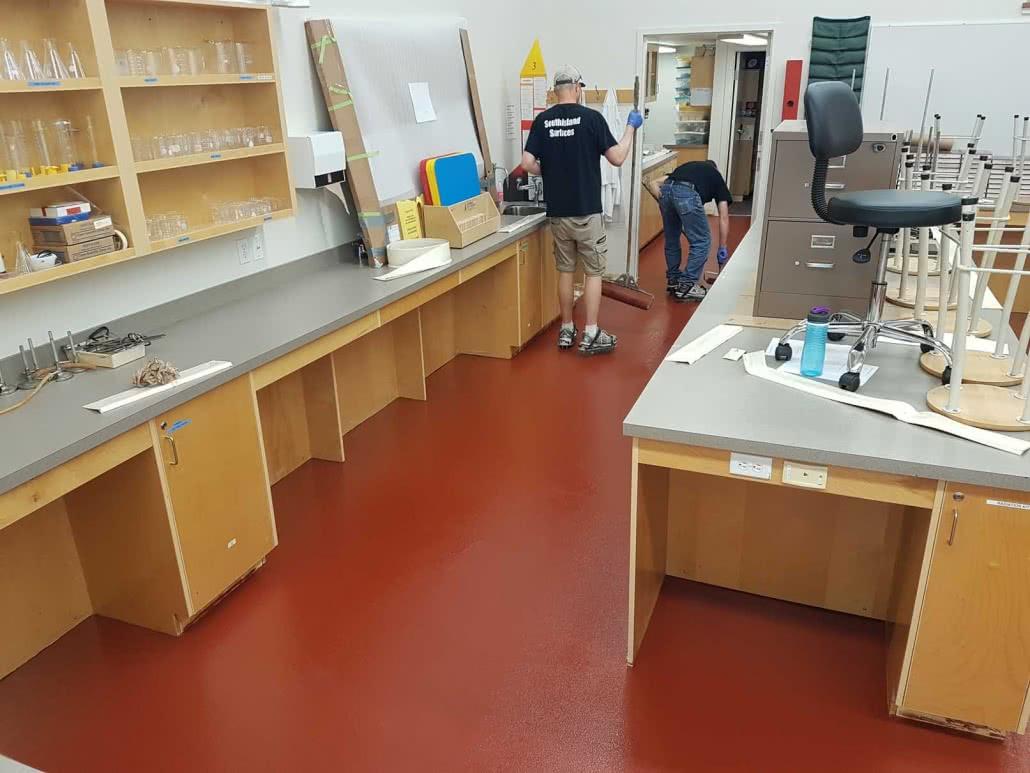 Coloured epoxy floor coating at Shawnigan Lake Elementary