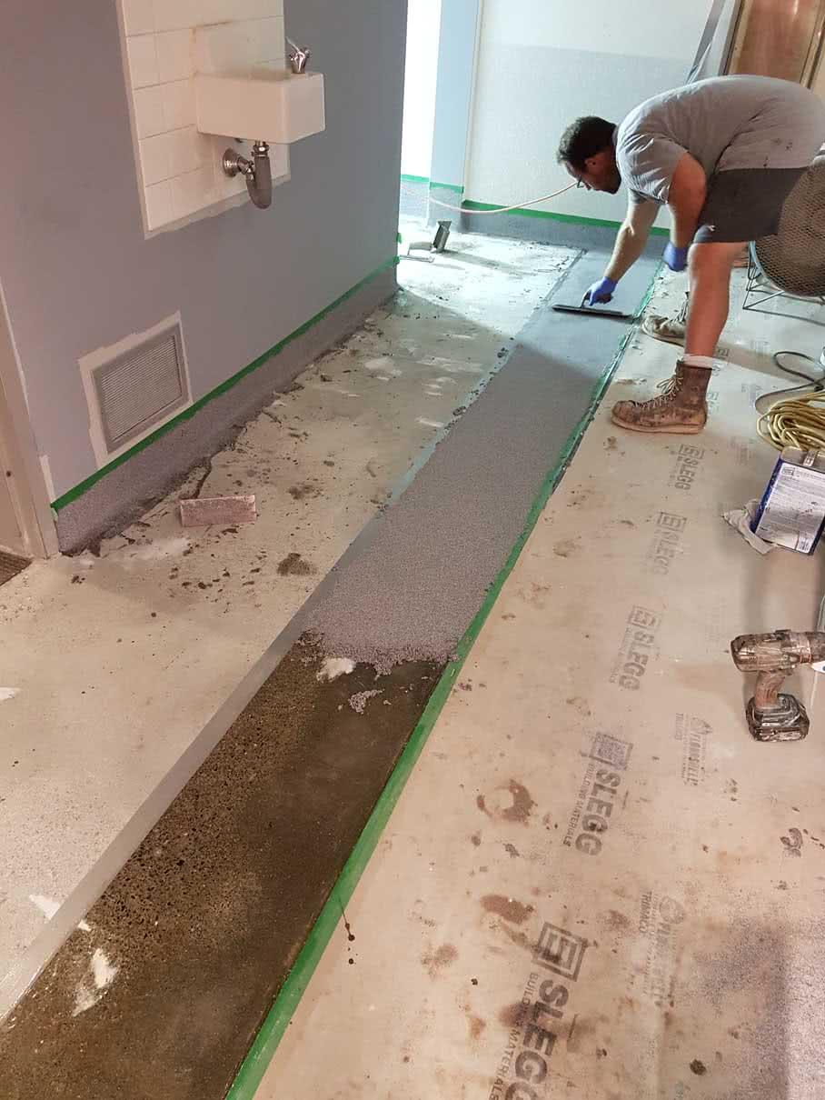 Concrete resurfacing and epoxy floor coating at Comox Recreation Centre