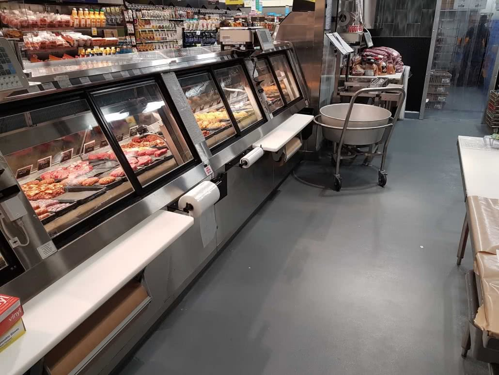 Concrete floor polishing and epoxy coating at Save on Foods