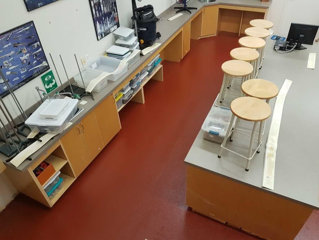 Colourful epoxy floor coating at Shawnigan Lake School