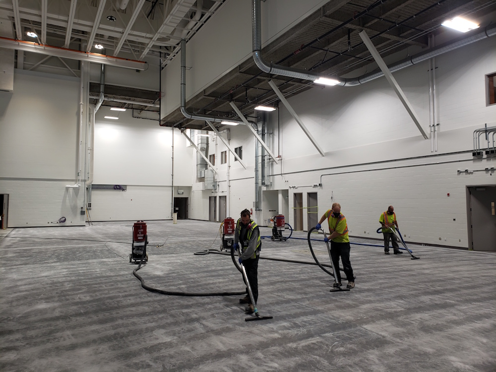 epoxy floor coating - CFB Comox Clean after grinding
