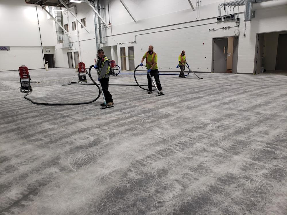 epoxy floor coating - CFB Comox Clean after grinding