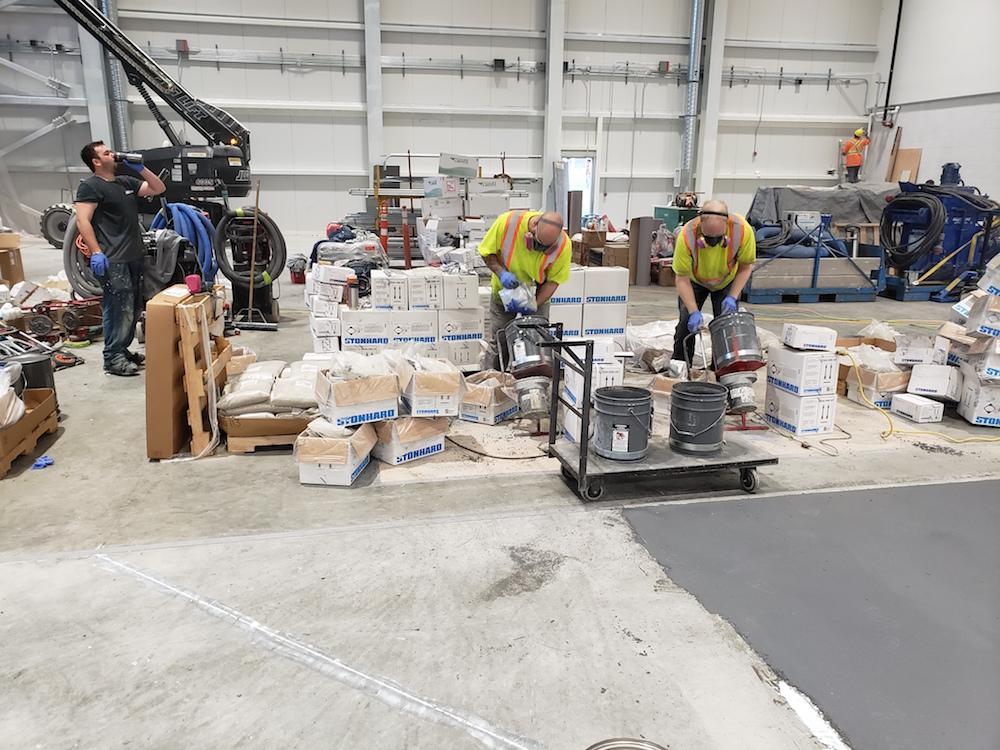 epoxy floor coating - CFB Comox prep