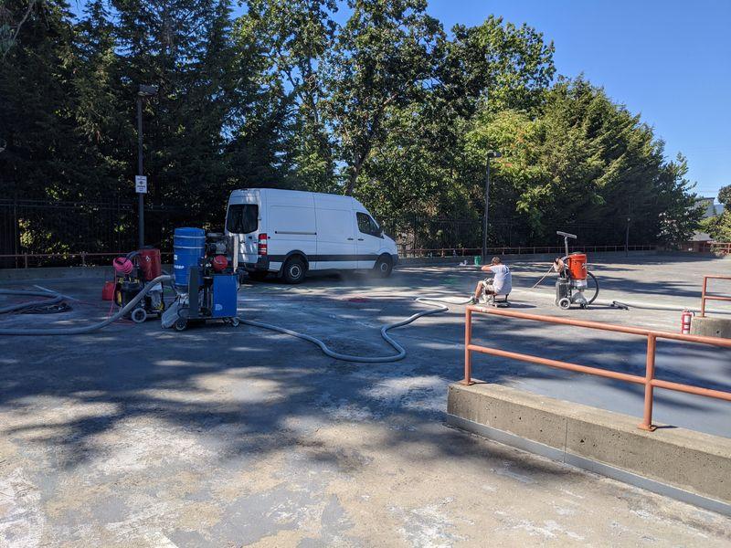Concrete restoration on parkade membrane